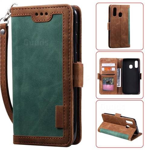 Luxury Retro Stitching Leather Wallet Phone Case for Samsung Galaxy A20e - Dark Green