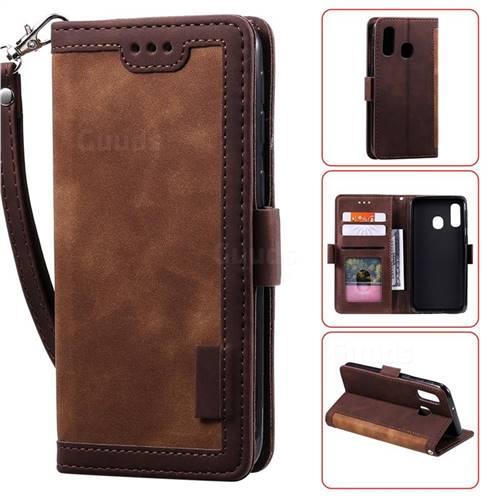 Luxury Retro Stitching Leather Wallet Phone Case for Samsung Galaxy A20e - Dark Brown