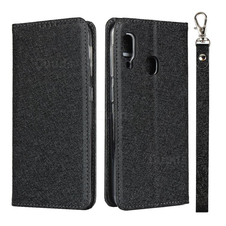 Ultra Slim Magnetic Automatic Suction Silk Lanyard Leather Flip Cover for Samsung Galaxy A20e - Black