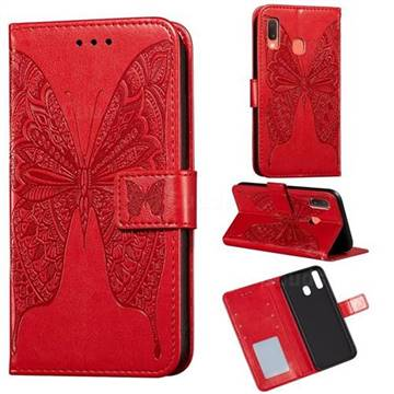 Intricate Embossing Vivid Butterfly Leather Wallet Case for Samsung Galaxy A20e - Red