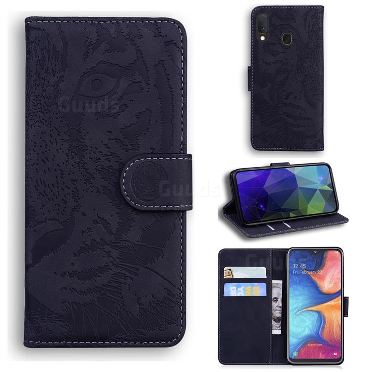 Intricate Embossing Tiger Face Leather Wallet Case for Samsung Galaxy A20e - Black