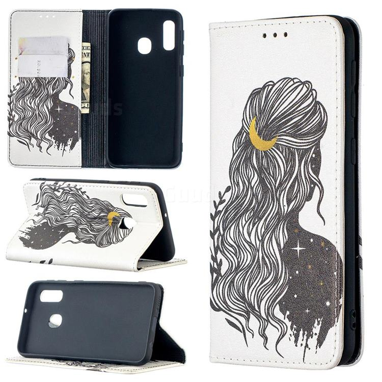 Girl with Long Hair Slim Magnetic Attraction Wallet Flip Cover for Samsung Galaxy A20e