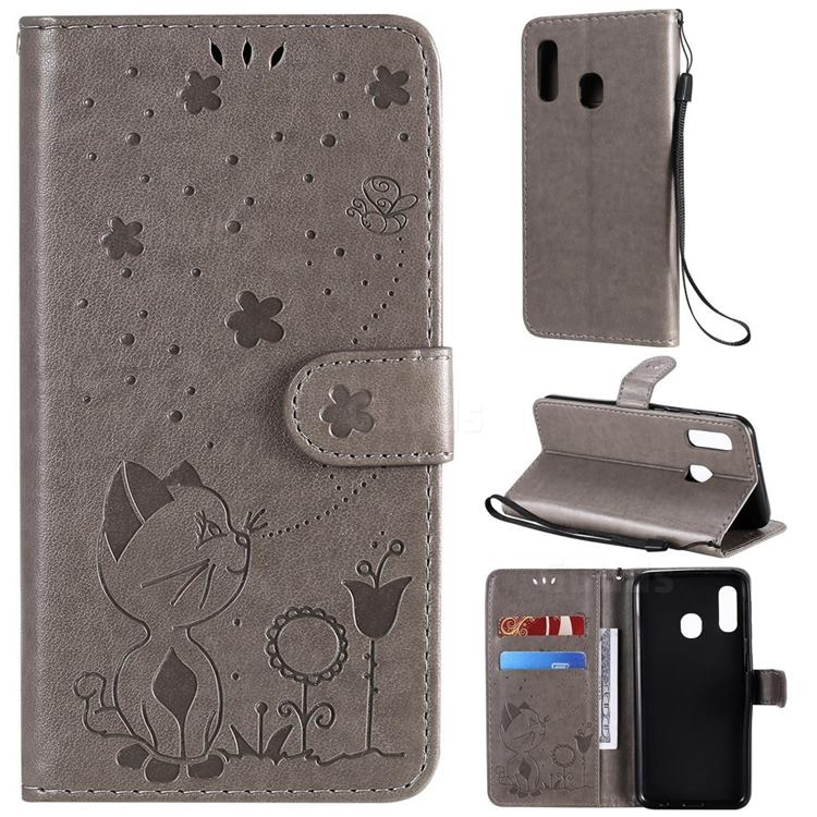 Embossing Bee and Cat Leather Wallet Case for Samsung Galaxy A20e - Gray