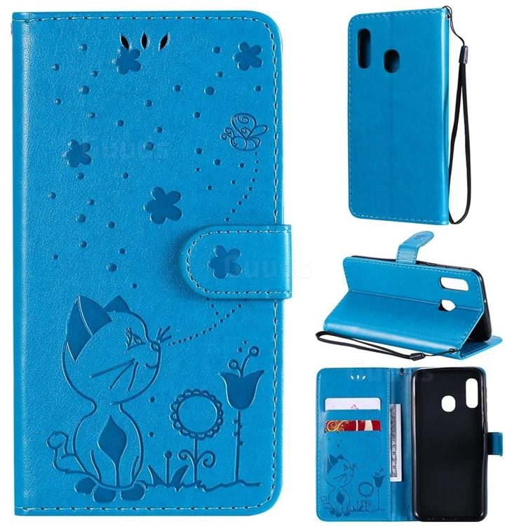 Embossing Bee and Cat Leather Wallet Case for Samsung Galaxy A20e - Blue
