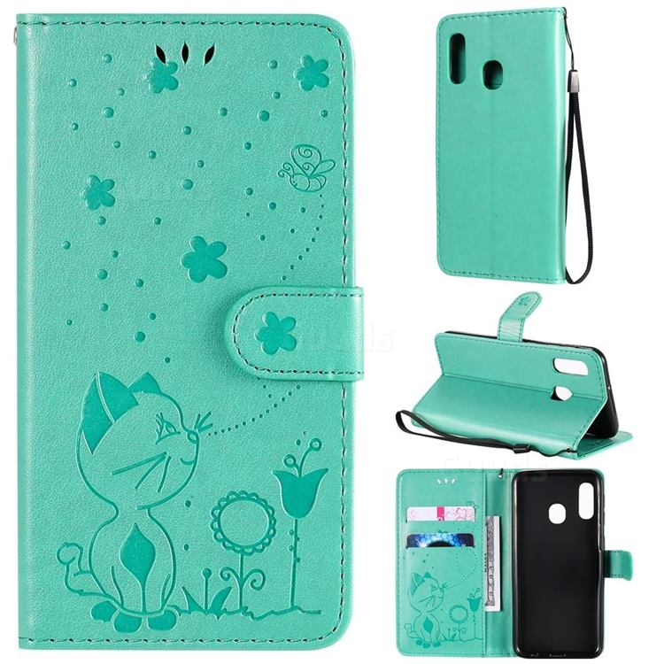 Embossing Bee and Cat Leather Wallet Case for Samsung Galaxy A20e - Green