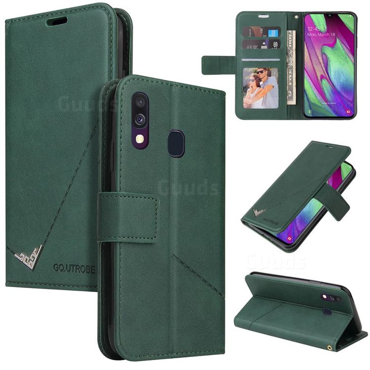 GQ.UTROBE Right Angle Silver Pendant Leather Wallet Phone Case for Samsung Galaxy A20e - Green