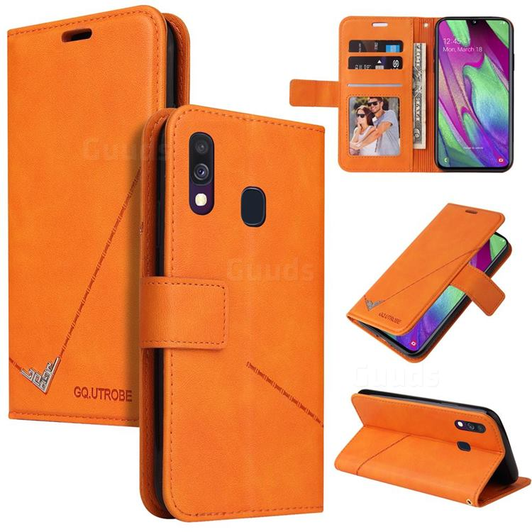 GQ.UTROBE Right Angle Silver Pendant Leather Wallet Phone Case for Samsung Galaxy A20e - Orange