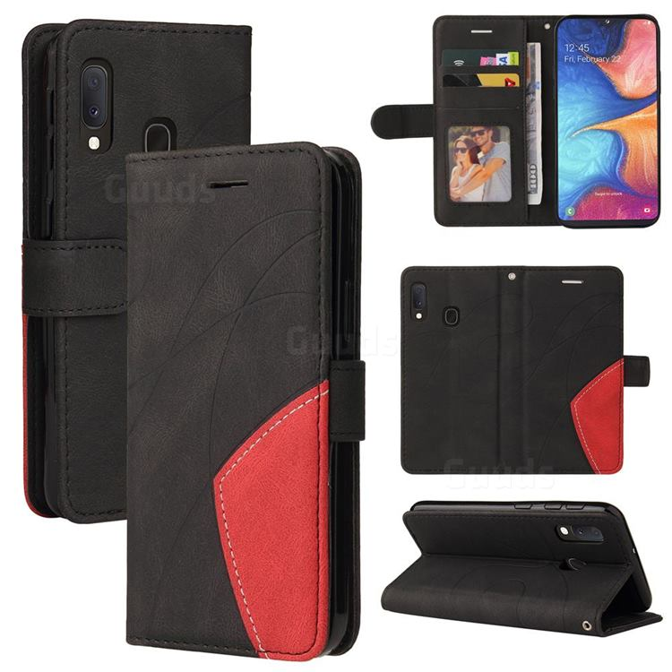 Luxury Two-color Stitching Leather Wallet Case Cover for Samsung Galaxy A20e - Black