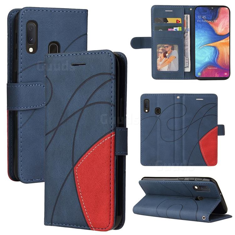 Luxury Two-color Stitching Leather Wallet Case Cover for Samsung Galaxy A20e - Blue