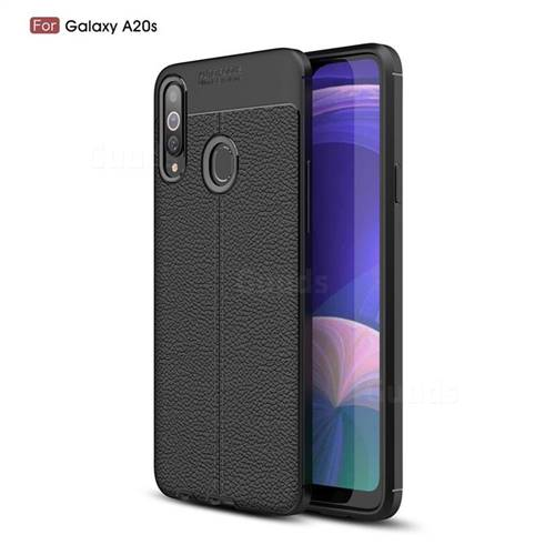 Luxury Auto Focus Litchi Texture Silicone TPU Back Cover for Samsung Galaxy A20s - Black