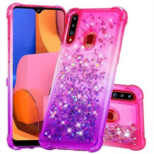 Rainbow Gradient Liquid Glitter Quicksand Sequins Phone Case for Samsung Galaxy A20s - Pink Purple