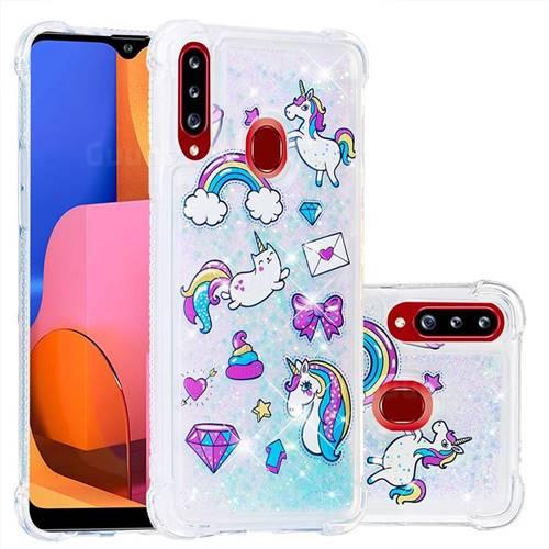 Fashion Unicorn Dynamic Liquid Glitter Sand Quicksand Star TPU Case for Samsung Galaxy A20s