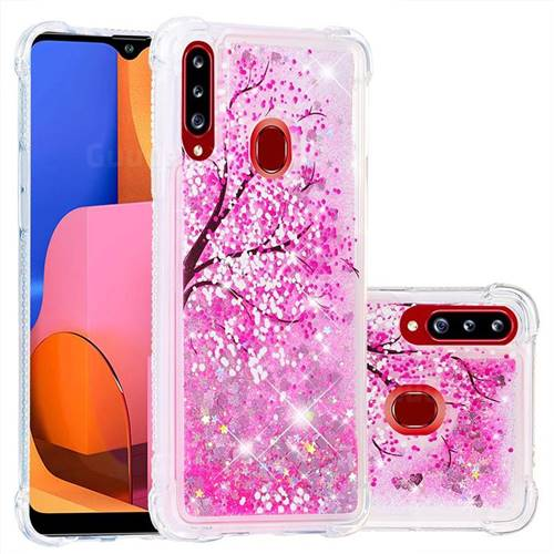 Pink Cherry Blossom Dynamic Liquid Glitter Sand Quicksand Star TPU Case for Samsung Galaxy A20s