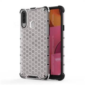 Honeycomb TPU + PC Hybrid Armor Shockproof Case Cover for Samsung Galaxy A20s - Transparent