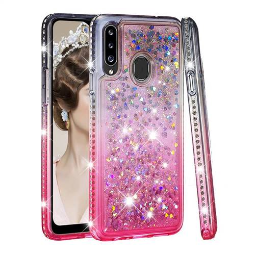 Diamond Frame Liquid Glitter Quicksand Sequins Phone Case for Samsung Galaxy A20s - Gray Pink