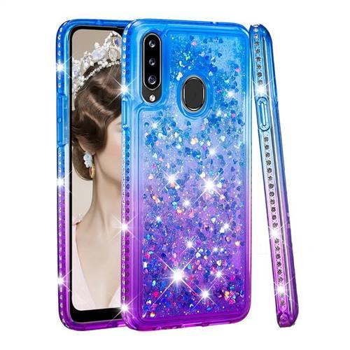 Diamond Frame Liquid Glitter Quicksand Sequins Phone Case for Samsung Galaxy A20s - Blue Purple