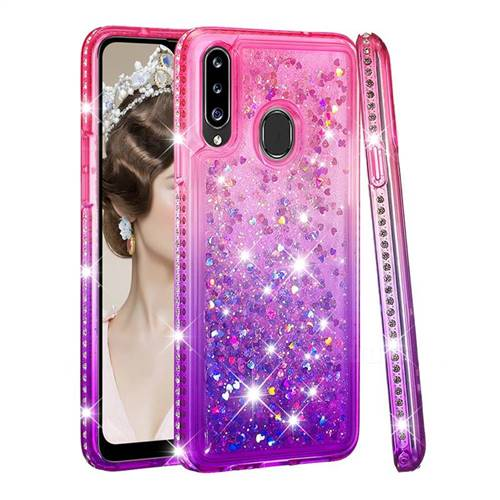 Diamond Frame Liquid Glitter Quicksand Sequins Phone Case for Samsung Galaxy A20s - Pink Purple