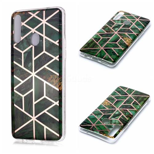 Green Rhombus Galvanized Rose Gold Marble Phone Back Cover for Samsung Galaxy A20s