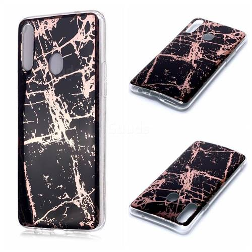 Black Galvanized Rose Gold Marble Phone Back Cover for Samsung Galaxy A20s