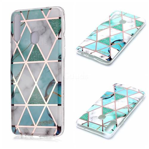 Green White Galvanized Rose Gold Marble Phone Back Cover for Samsung Galaxy A20s