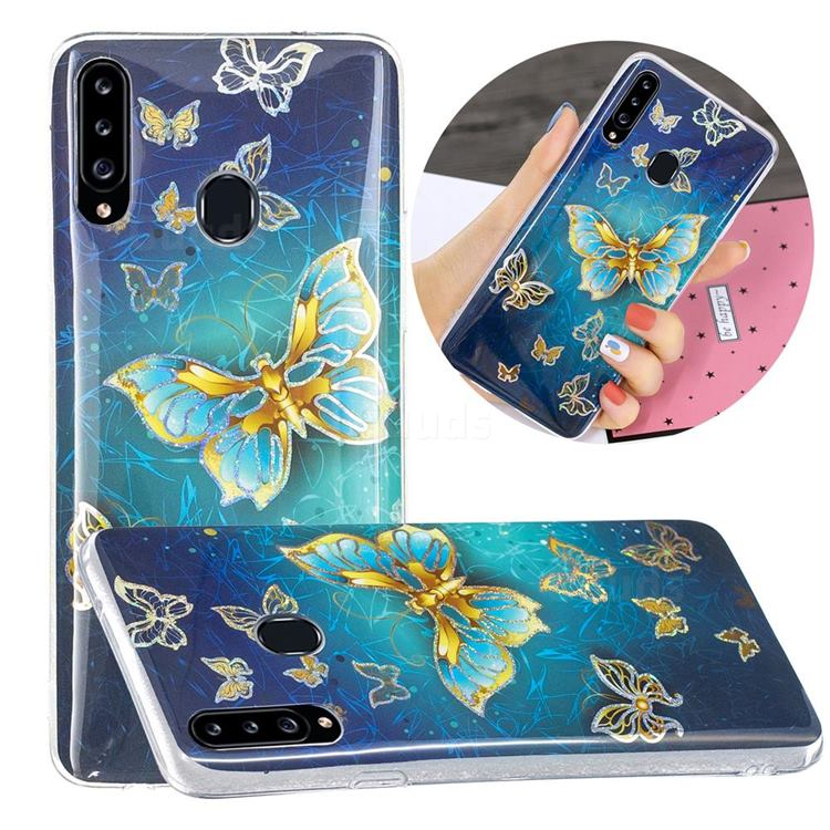 Golden Butterfly Painted Galvanized Electroplating Soft Phone Case Cover for Samsung Galaxy A20s