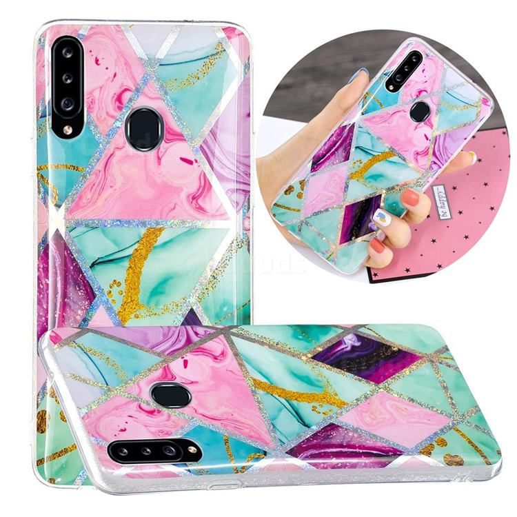 Triangular Marble Painted Galvanized Electroplating Soft Phone Case Cover for Samsung Galaxy A20s