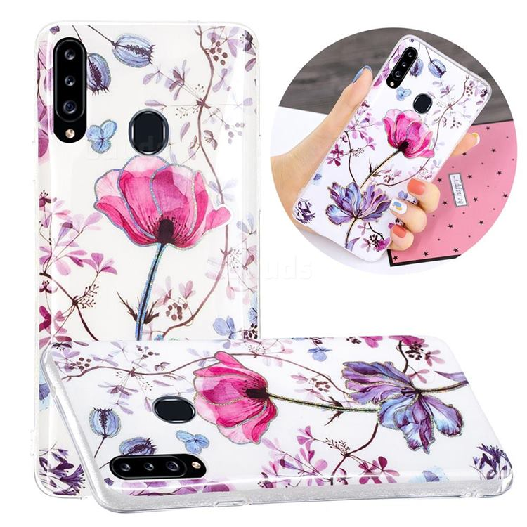 Magnolia Painted Galvanized Electroplating Soft Phone Case Cover for Samsung Galaxy A20s