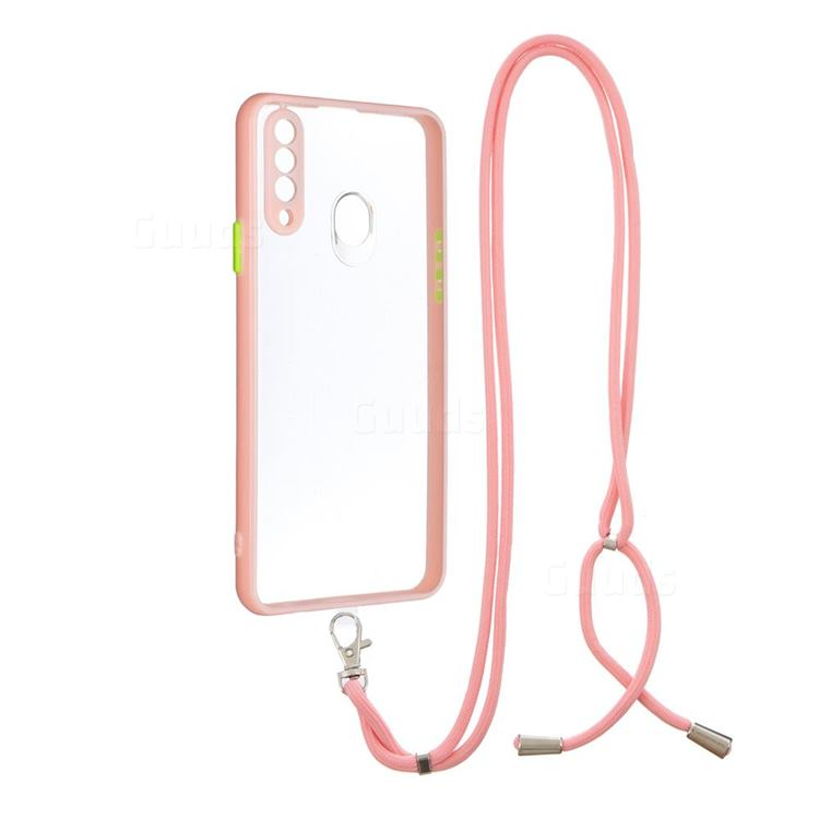 Necklace Cross-body Lanyard Strap Cord Phone Case Cover for Samsung Galaxy A20s - Pink
