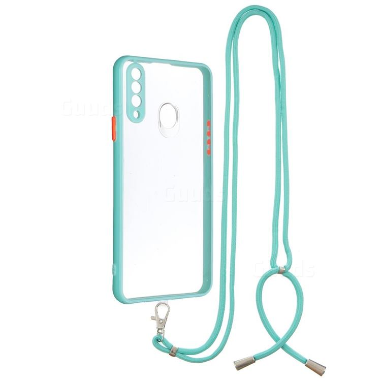Necklace Cross-body Lanyard Strap Cord Phone Case Cover for Samsung Galaxy A20s - Blue