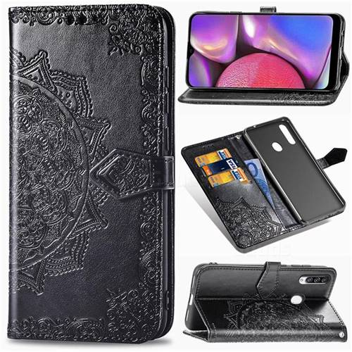 Embossing Imprint Mandala Flower Leather Wallet Case for Samsung Galaxy A20s - Black