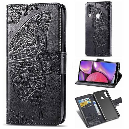 Embossing Mandala Flower Butterfly Leather Wallet Case for Samsung Galaxy A20s - Black