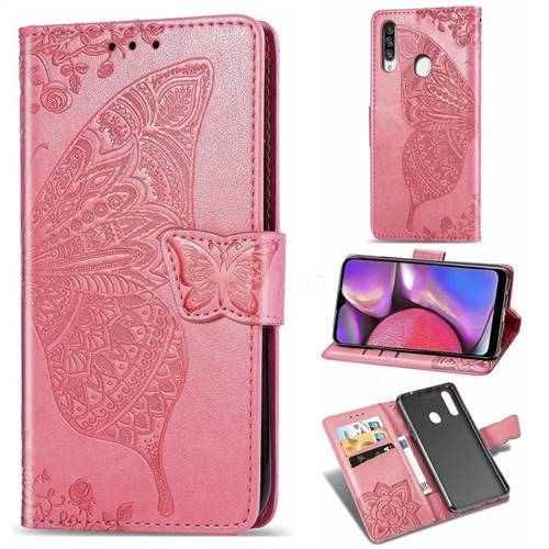 Embossing Mandala Flower Butterfly Leather Wallet Case for Samsung Galaxy A20s - Pink