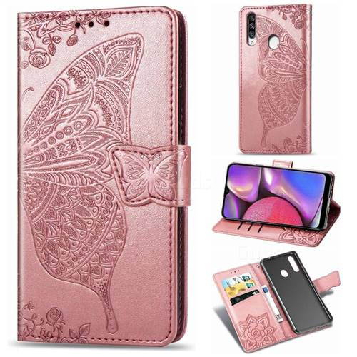 Embossing Mandala Flower Butterfly Leather Wallet Case for Samsung Galaxy A20s - Rose Gold