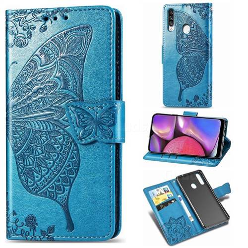 Embossing Mandala Flower Butterfly Leather Wallet Case for Samsung Galaxy A20s - Blue