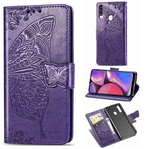 Embossing Mandala Flower Butterfly Leather Wallet Case for Samsung Galaxy A20s - Dark Purple