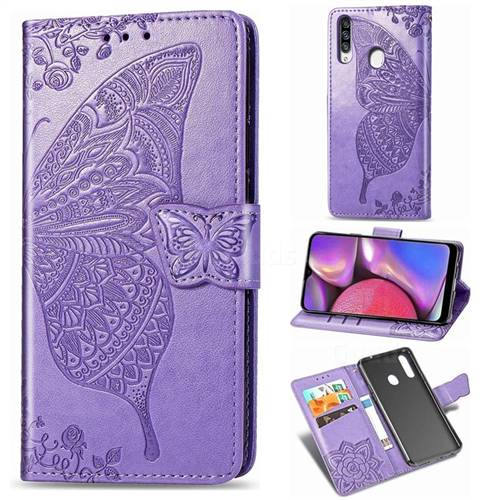 Embossing Mandala Flower Butterfly Leather Wallet Case for Samsung Galaxy A20s - Light Purple