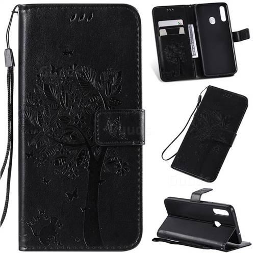 Embossing Butterfly Tree Leather Wallet Case for Samsung Galaxy A20s - Black