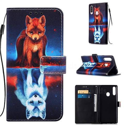 Water Fox Matte Leather Wallet Phone Case for Samsung Galaxy A20s
