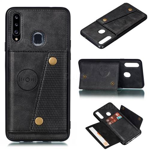 Retro Multifunction Card Slots Stand Leather Coated Phone Back Cover for Samsung Galaxy A20s - Black