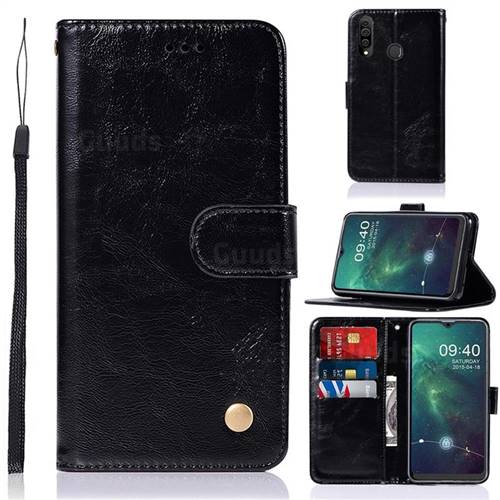 Luxury Retro Leather Wallet Case for Samsung Galaxy A20s - Black