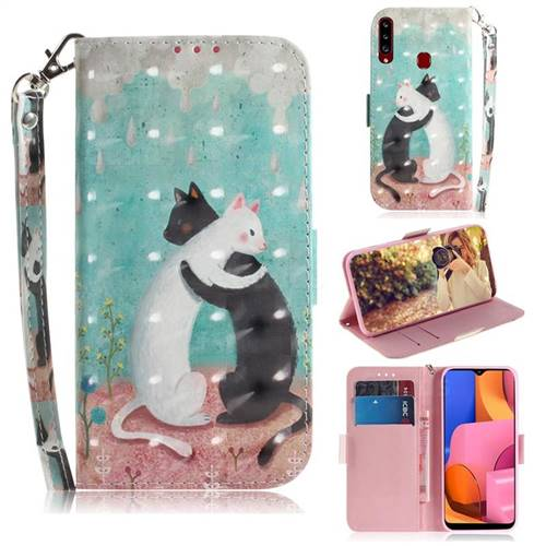 Black and White Cat 3D Painted Leather Wallet Phone Case for Samsung Galaxy A20s