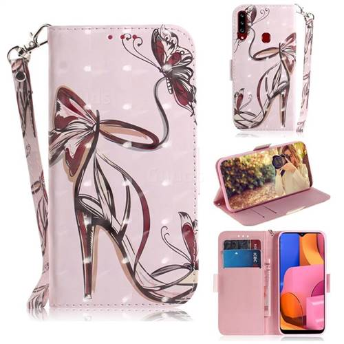 Butterfly High Heels 3D Painted Leather Wallet Phone Case for Samsung Galaxy A20s