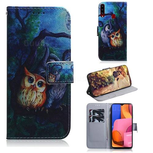 Oil Painting Owl PU Leather Wallet Case for Samsung Galaxy A20s