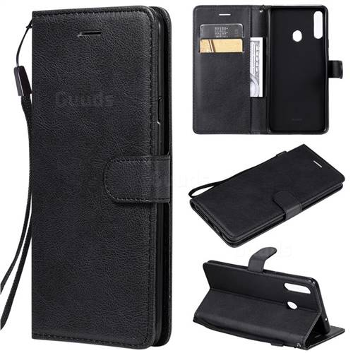 Retro Greek Classic Smooth PU Leather Wallet Phone Case for Samsung Galaxy A20s - Black