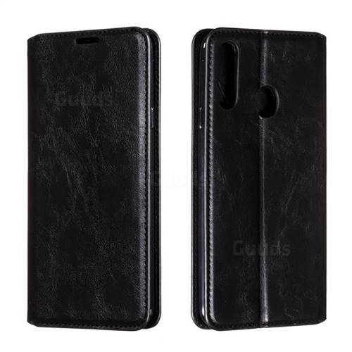 Retro Slim Magnetic Crazy Horse PU Leather Wallet Case for Samsung Galaxy A20s - Black