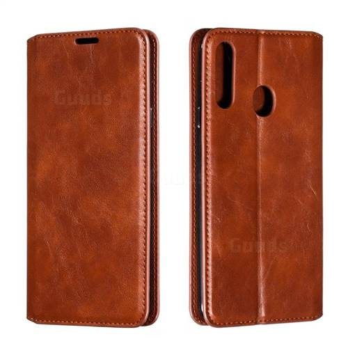 Retro Slim Magnetic Crazy Horse PU Leather Wallet Case for Samsung Galaxy A20s - Brown