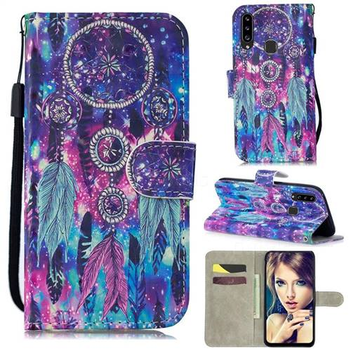 Star Wind Chimes 3D Painted Leather Wallet Phone Case for Samsung Galaxy A20s