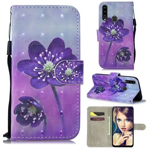 Purple Flower 3D Painted Leather Wallet Phone Case for Samsung Galaxy A20s