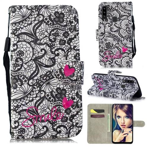 Lace Flower 3D Painted Leather Wallet Phone Case for Samsung Galaxy A20s