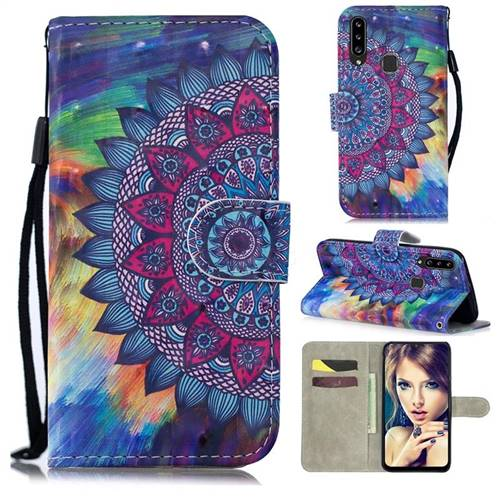 Oil Painting Mandala 3D Painted Leather Wallet Phone Case for Samsung Galaxy A20s